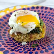 Quinoa Cakes with Poached Eggs: Easy, freezer friendly quinoa cakes, topped with a pile of fresh kale and poached eggs. An easy, summery, CSA-friendly dinner. {Bunsen Burner Bakery}