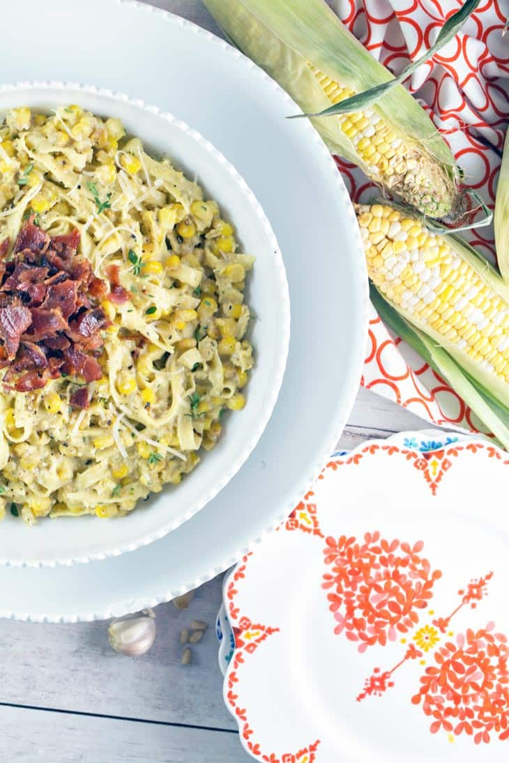 Fettuccine with Corn Pesto: pair fresh pasta with pesto made from sweet summer corn for a delicious, unexpected twist.  {Bunsen Burner Bakery}