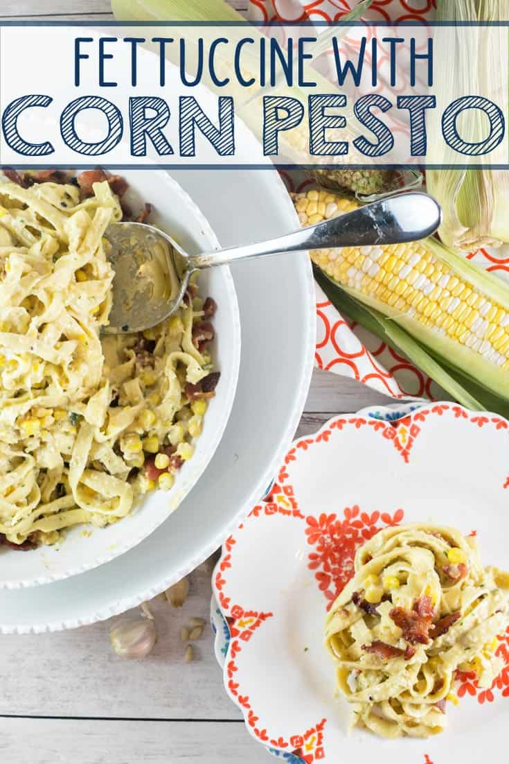 Fettuccine with Corn Pesto: pair fresh pasta with pesto made from sweet summer corn for a delicious, unexpected twist. {Bunsen Burner Bakery} #pasta #dinner #pesto #corn