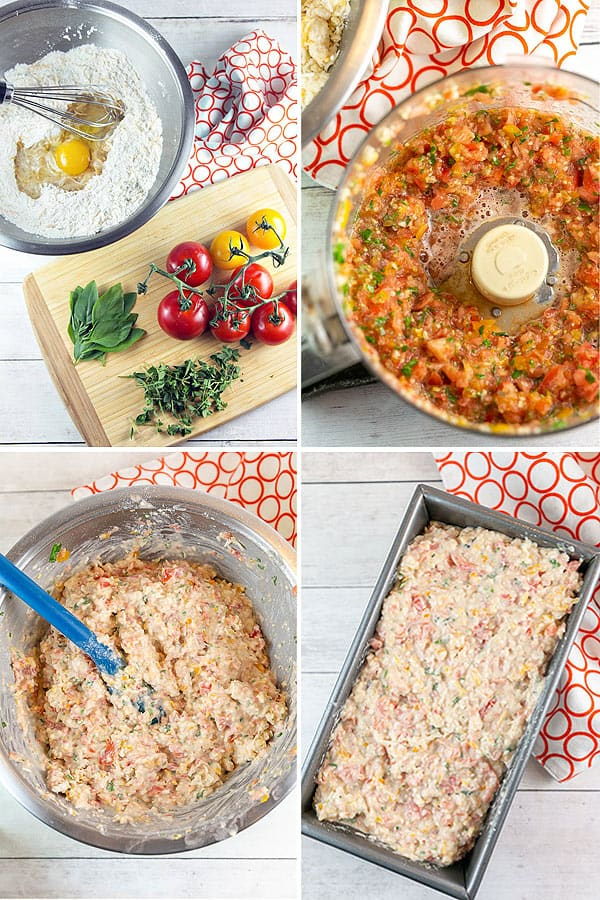 four photos showing ingredients, tomatoes pureed in a food processor, mixed batter, and batter poured into a loaf pan