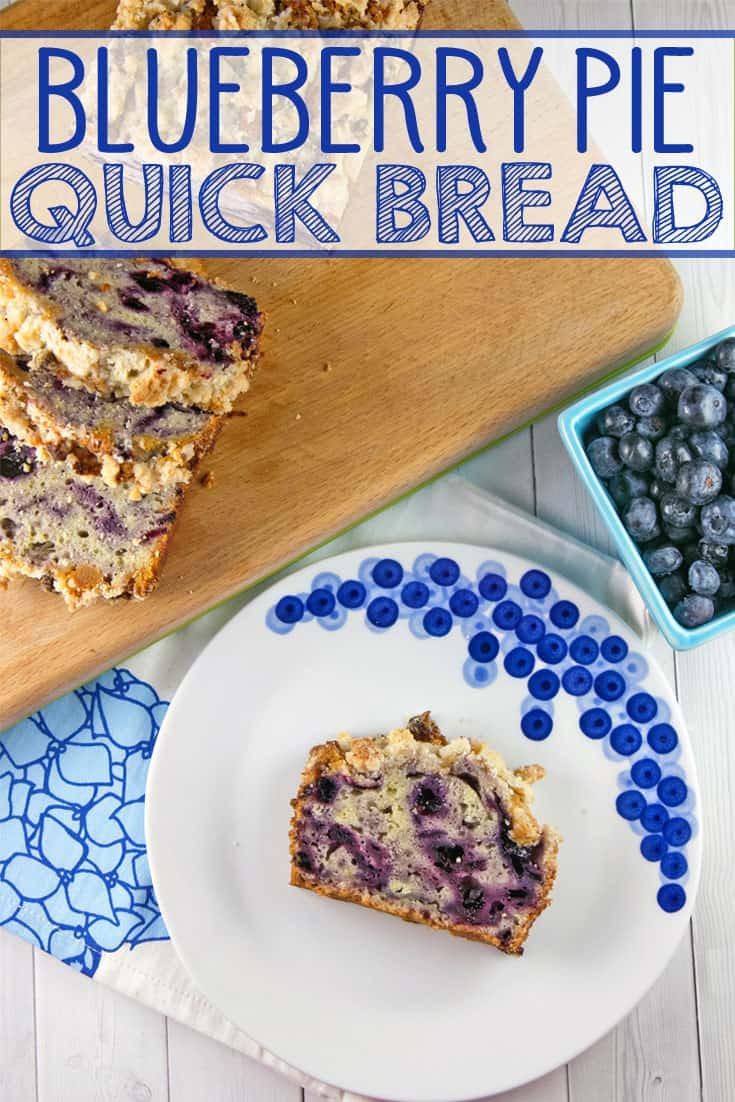 Blueberry Pie Quick Bread: homemade blueberry pie filling swirled into an easy quick bread recipe, topped with an almond crumble streusel.  #bunsenburnerbakery #quickbread #blueberrybread #blueberrypie