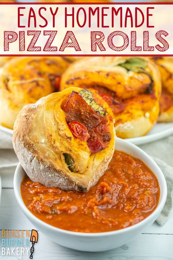 Easy Homemade Pizza Rolls: Quick food processor homemade pizza dough is the star of this easy pizza roll recipe. Fill with cherry tomatoes, pepperoni, veggies, or any other toppings of your choice. #bunsenburnerbakery #pizzarolls #pizzadough