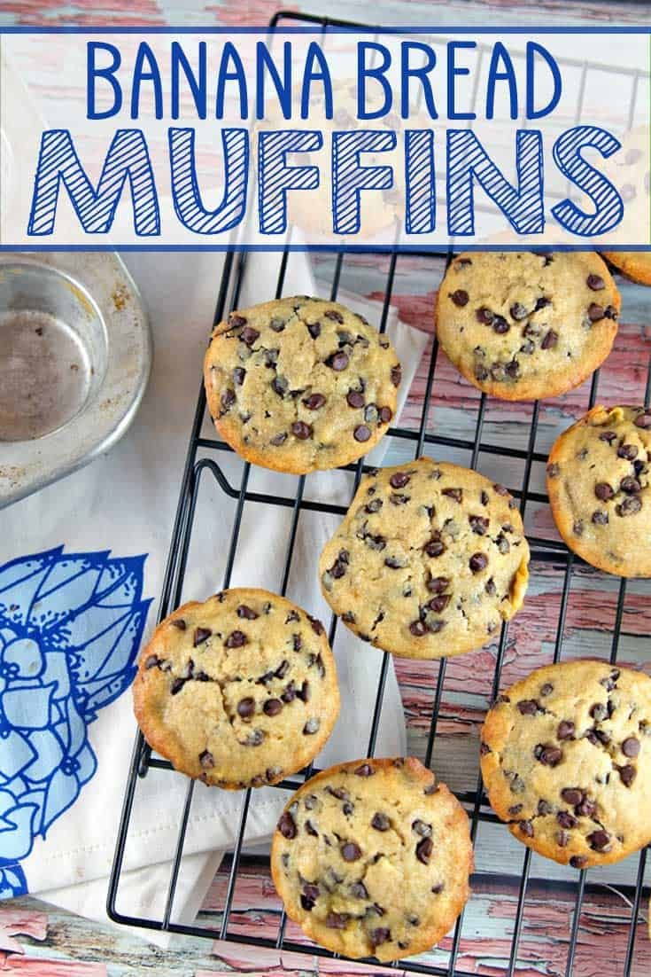 Chocolate Chip Banana Bread Muffins: This easy, one bowl, mix by hand recipe yields super moist muffins, reminiscent of your favorite banana bread. Plus adaptations to make them healthy or vegan! #bunsenburnerbakery #muffins #bananabread #breakfast