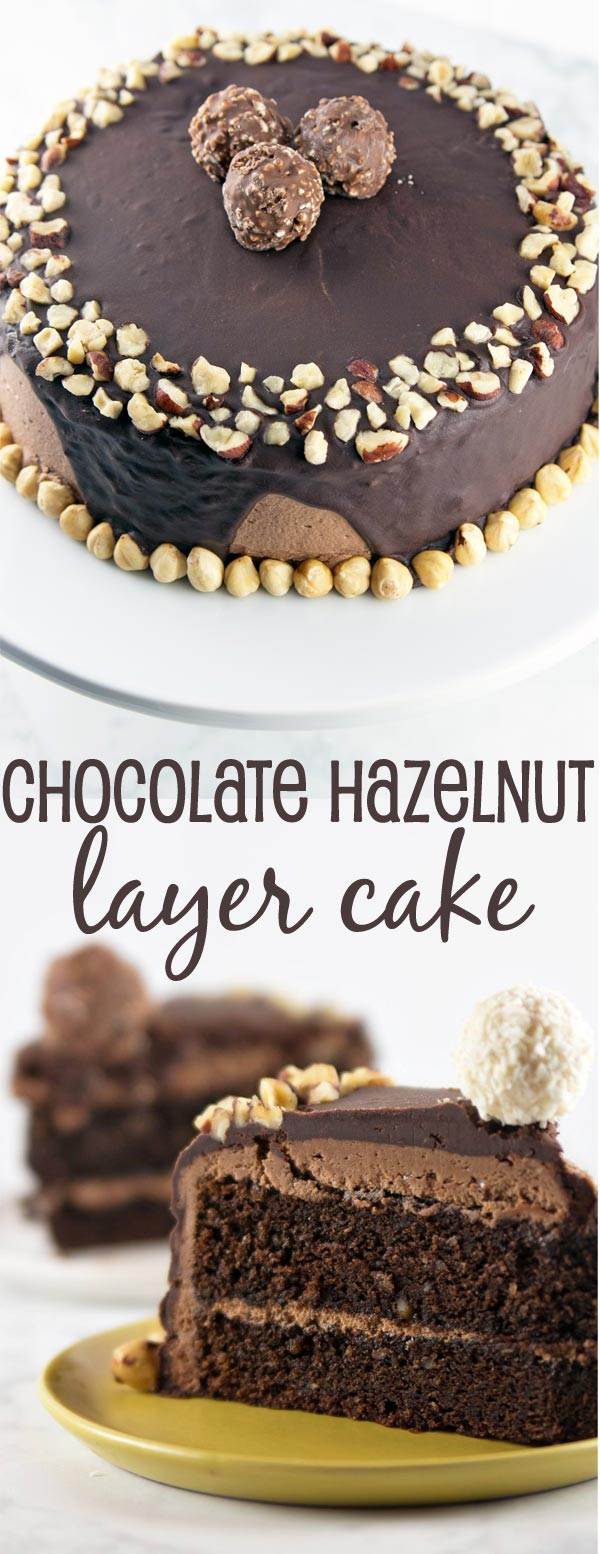 Chocolate Hazelnut Cake: two layers of rich chocolate cake, sandwiched ...