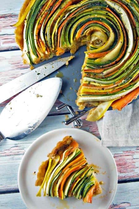 Spiral Vegetable Tart: Thinly sliced summer vegetables are the visual star of this spiral vegetable tart. Vegetarian   Vegan   Gluten Free {Bunsen Burner Bakery}