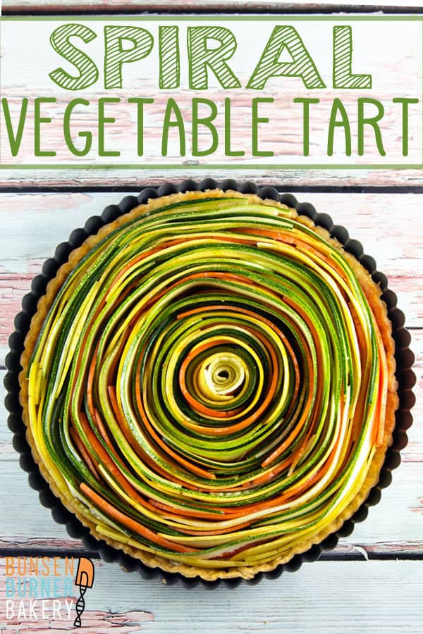 Spiral Vegetable Tart: thinly sliced vegetables are the visual star of this edible artwork. With a layer of homemade sundried tomato pesto and a flaky pie crust, this tart is as delicious as it is beautiful! Vegan and gluten free options, too! #bunsenburnerbakery #vegetabletart #appetizer #sidedish #vegetables
