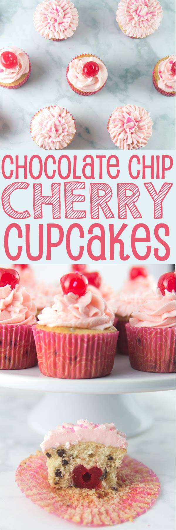 Chocolate Chip Cherry Cupcakes: vanilla-speckled cupcakes studded with mini chocolate chips and a pile of fluffy cherry buttercream. Top with a cherry - or bake one right inside! {Bunsen Burner Bakery}