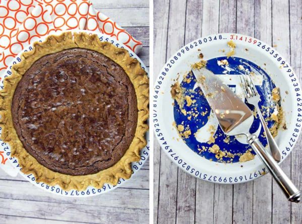diptych of a pie plate with flourless chocolate brownie pie and an empty pie plate with crumbs