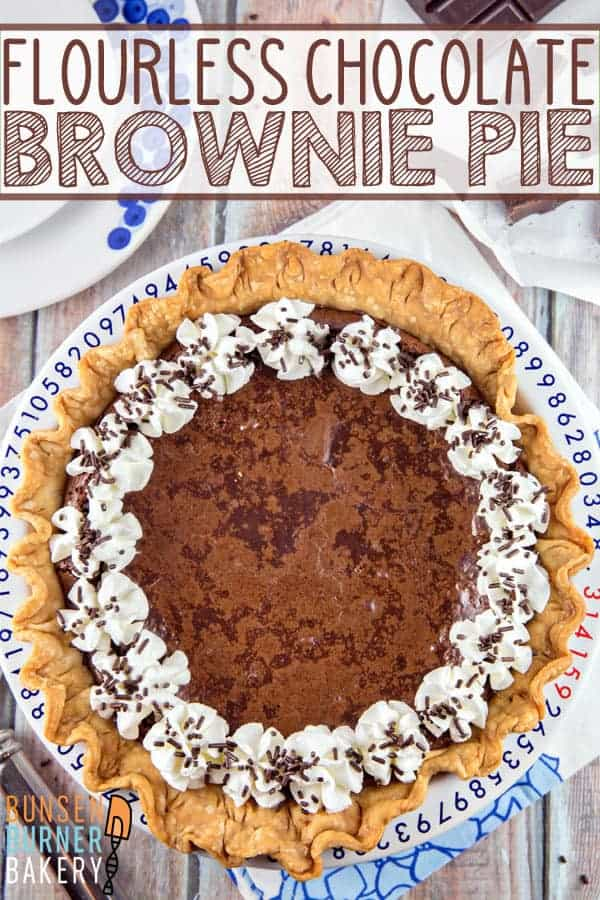 Flourless Chocolate Brownie Pie: chewy edges, gooey middle - the perfect brownie, baked right into a pie crust. Simple ingredients, one bowl, gluten free. #bunsenburnerbakery #brownies #pie #chocolate #glutenfree #browniepie