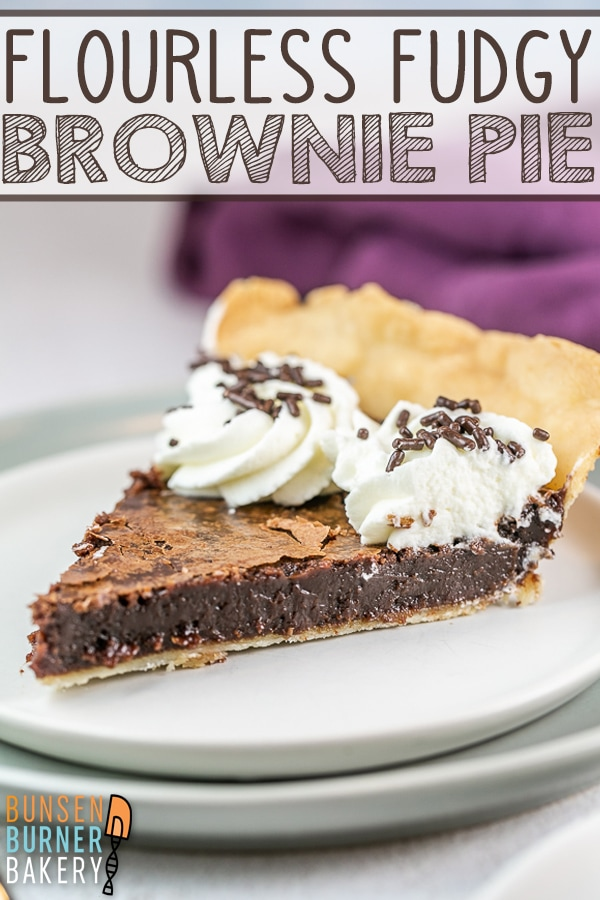 Fudgy Flourless Brownie Pie: chewy edges, gooey middle - the perfect brownie, baked right into a pie crust. An easy recipe for the best chocolate fudge pie (gluten free, too!) #bunsenburnerbakery #chocolate #glutenfree #browniepie