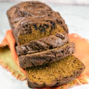 Nutella Swirled Pumpkin Bread: Perfectly spiced pumpkin bread with rich swirls of nutella topping the bread. {Bunsen Burner Bakery}