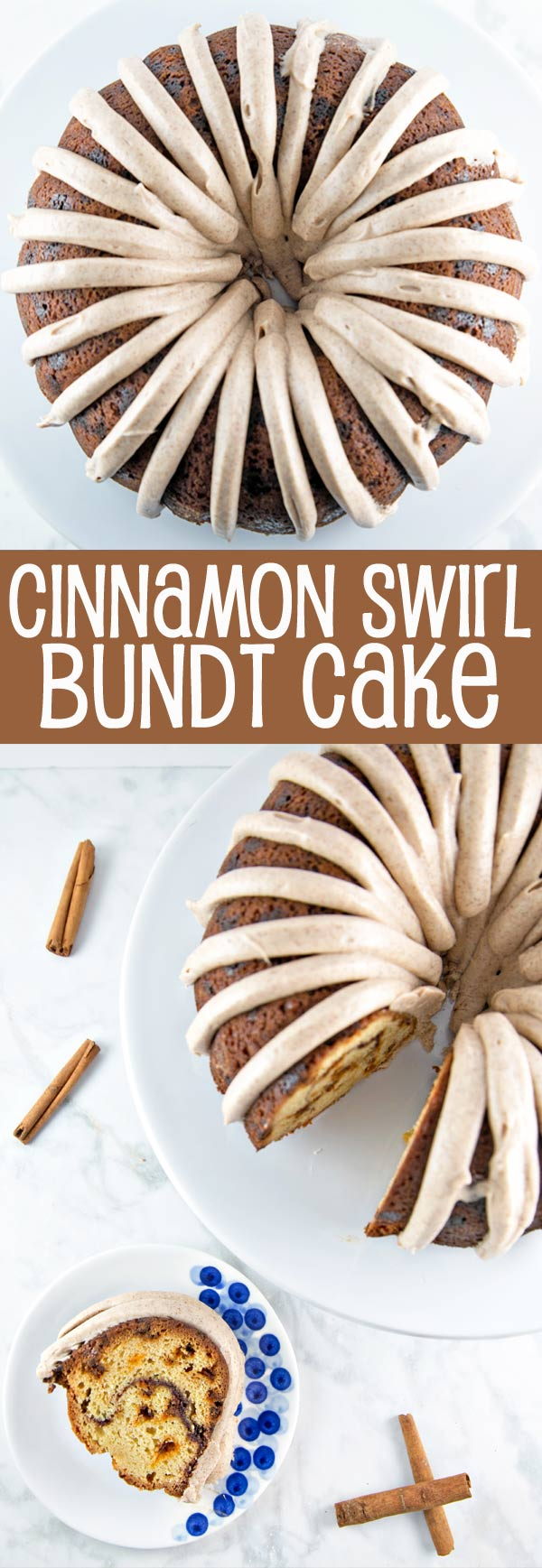 Cinnamon Swirl Bundt Cake: one bowl, whisk by hand, with cinnamon cream cheese frosting. Plus tips for the BEST cake from a boxed cake mix! {Bunsen Burner Bakery}
