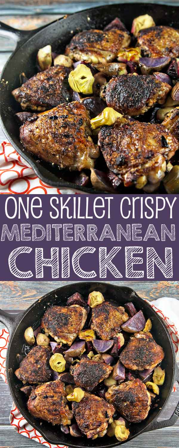 One Skillet Crispy Mediterranean Chicken roasted with beets and artichokes.  Gluten free, paleo, and Whole 30 compliant. {Bunsen Burner Bakery}