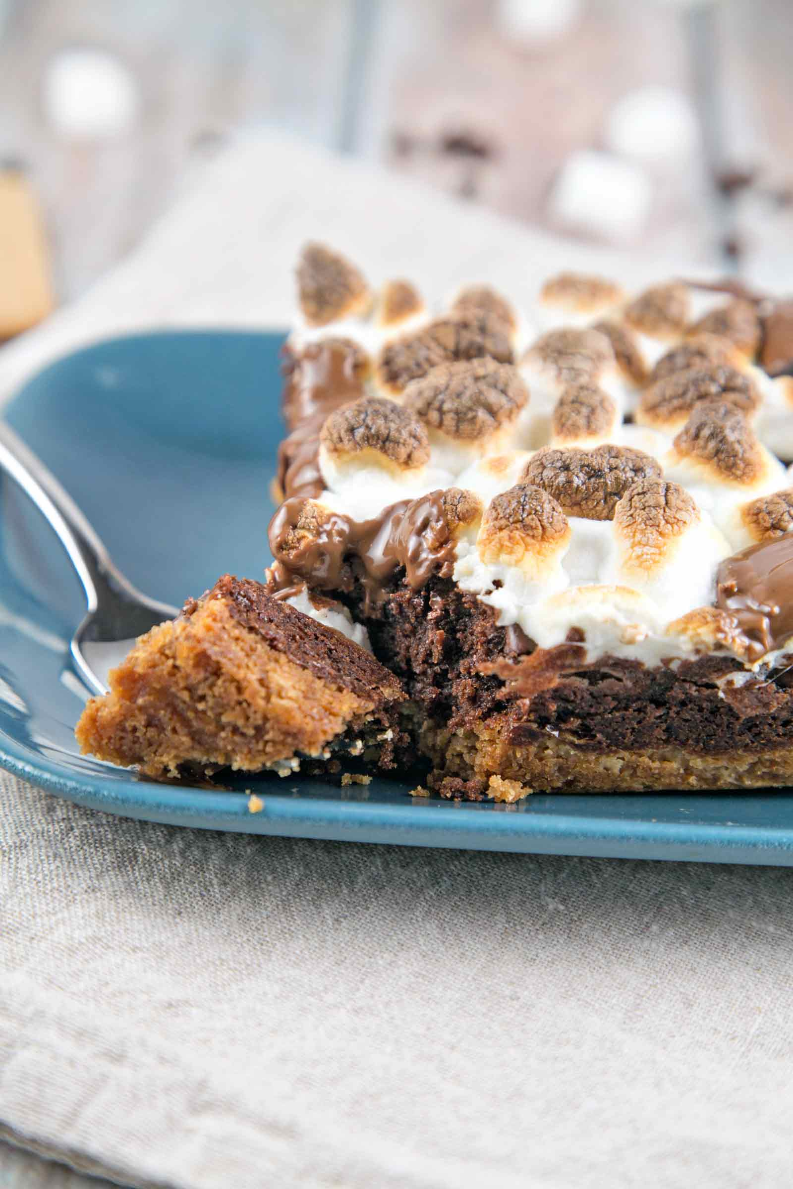 Small Batch S'mores Brownies: a graham cracker crust, rich decadent brownies, and broiled marshmallows - perfectly sized to feed four. {Bunsen Burner Bakery}