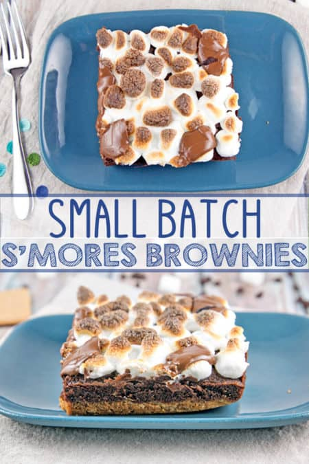 Small Batch S'mores Brownies: a graham cracker crust, rich decadent brownies, and broiled marshmallows - perfectly sized to feed four. {Bunsen Burner Bakery} #brownies #smores #bakingfortwo