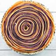 Spiral Sweet Potato Tart with Whipped Maple Ricotta: both delicious and beautiful enough to star at your next holiday dinner. #bunsenburnerbakery #sweetpotato #tart #Thanksgiving #vegetarian #glutenfree