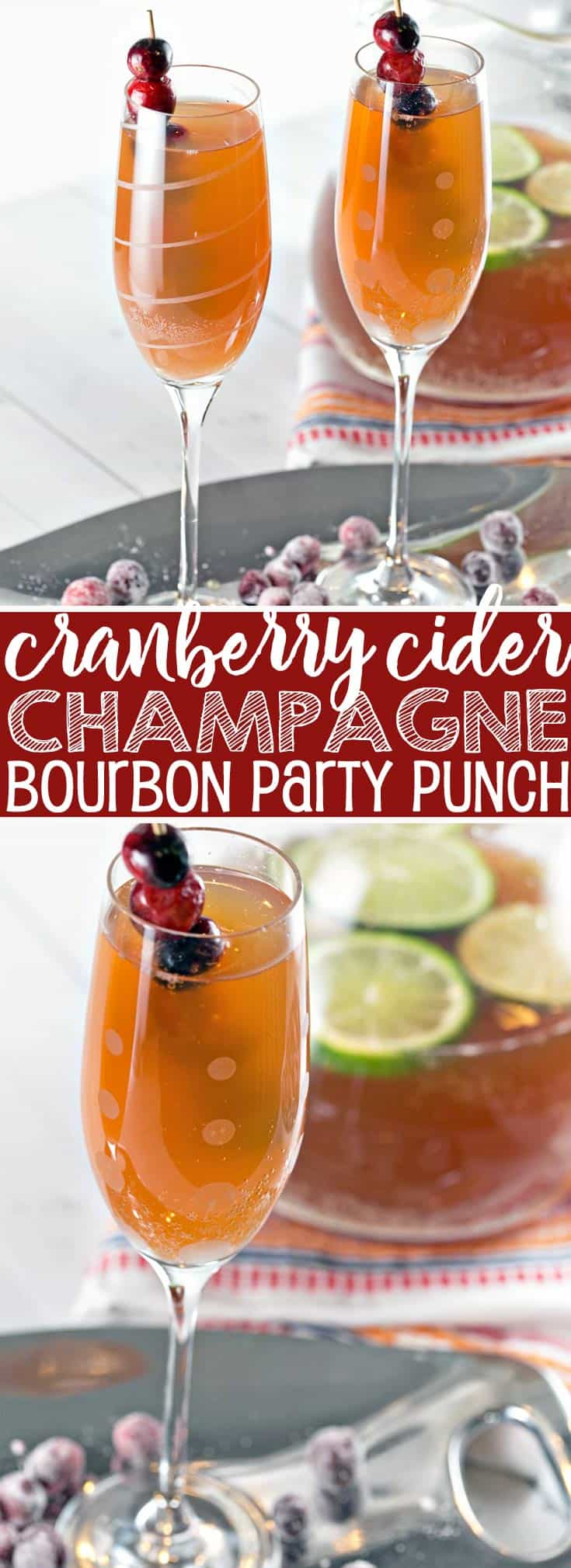 Cranberry Cider Champagne Punch: the perfect holiday party punch, preferably with an extra splash of bourbon. {Bunsen Burner Bakery} #punch #partypunch #cranberry #applecider #champagne #bourbon #thanksgiving #christmas