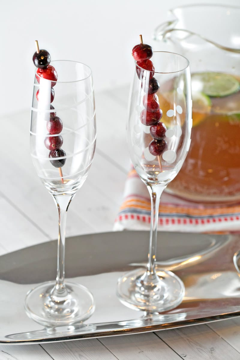Cranberry Cider Champagne Punch: the perfect holiday party punch, preferably with an extra splash of bourbon. {Bunsen Burner Bakery}