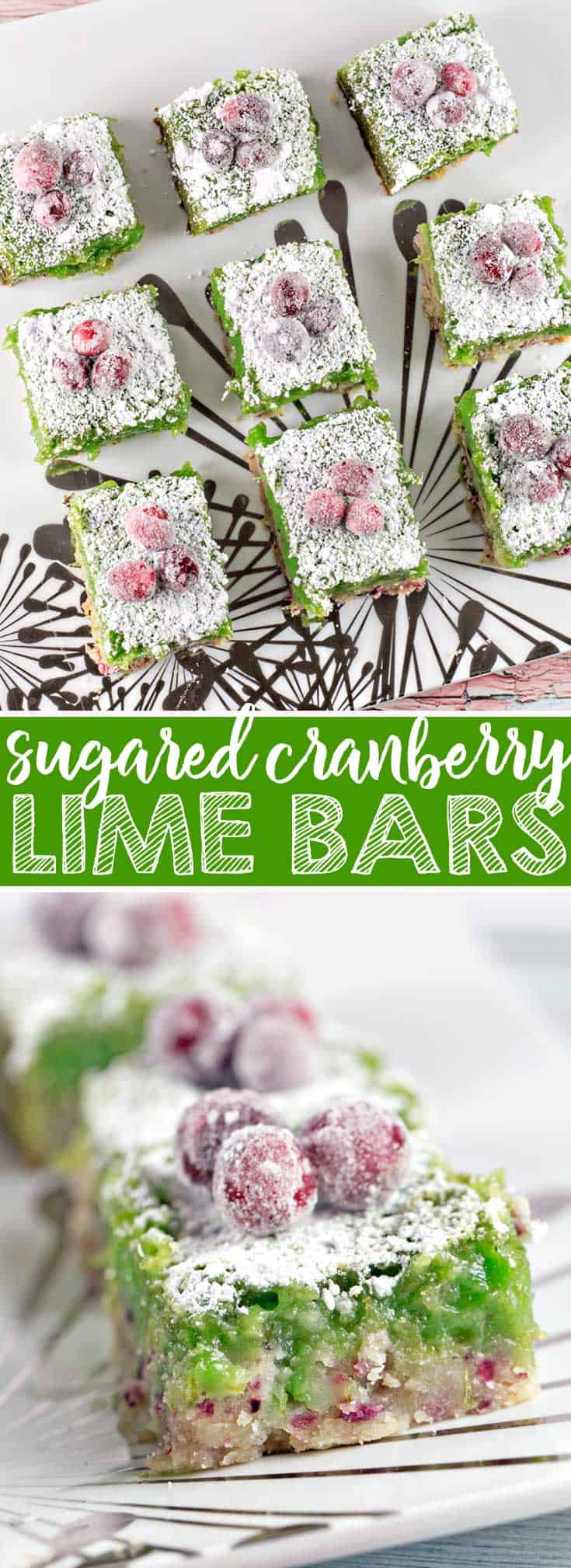 Cranberry Lime Bars: adios, bland lime bars - these cranberry lime bars pack a serious sweet-tart citrusy punch! {Bunsen Burner Bakery} #limebars #sugaredcranbreries #christmas #dessertbars