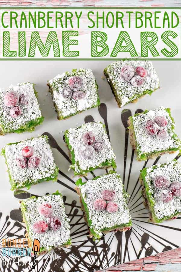 Cranberry Lime Bars: adios, bland lime bars - these cranberry lime bars pack a serious sweet-tart citrusy punch! #bunsenburnerbakery #limebars #sugaredcranberries #christmas #dessertbars