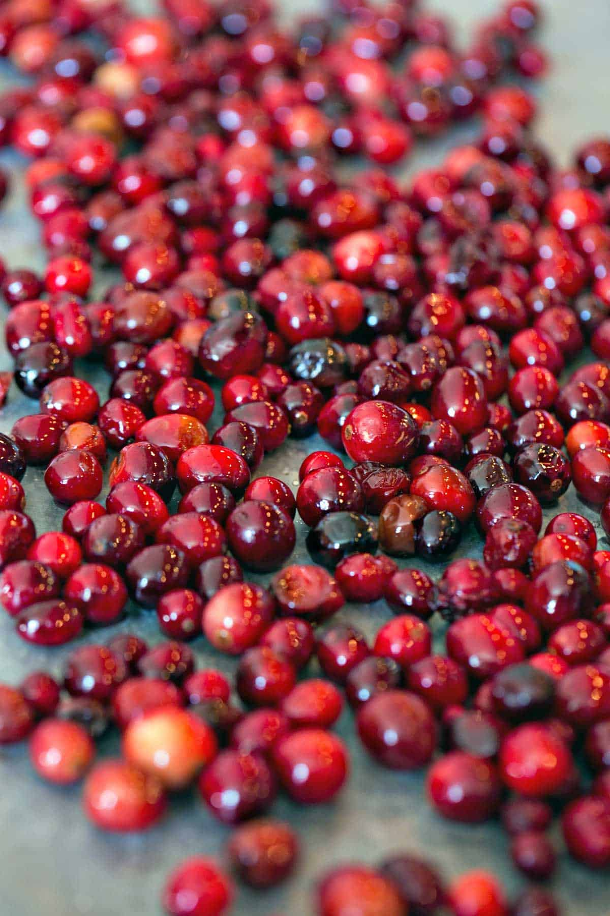 cranberries covered in simple syrup to make sugared cranberries