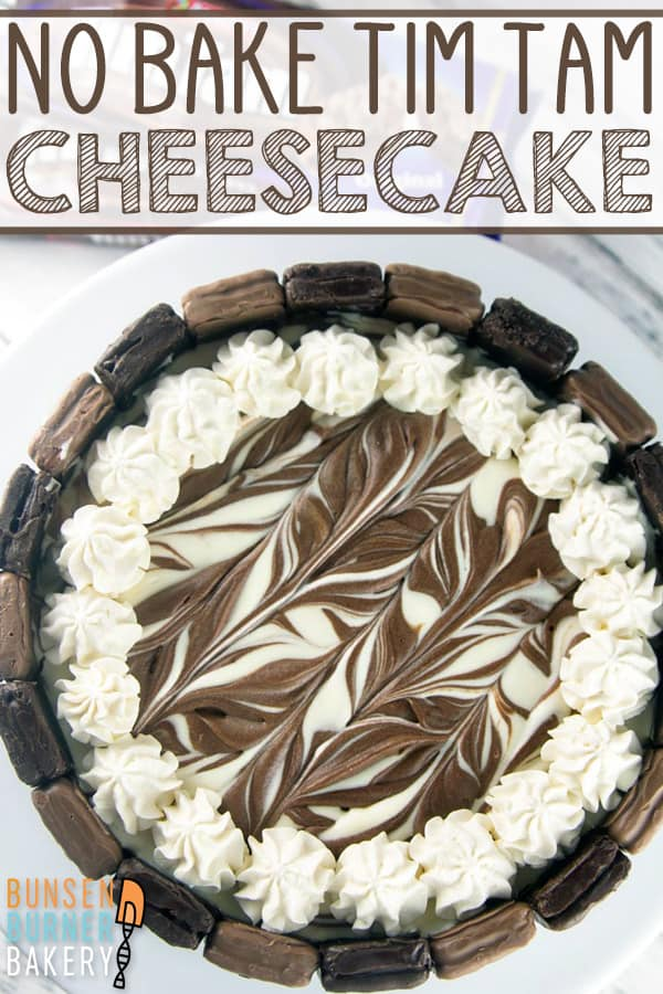 No Bake Tim Tam Cheesecake: the perfect quick and easy dessert. Crunchy Tim Tams paired with a light, smooth no bake cheesecake filling, and a pure chocolate crust. #bunsenburnerbakery #cheesecake #timtams #nobakecheesecake