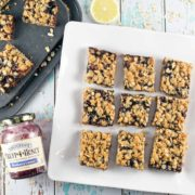 Oatmeal Jam Bars: one bowl, one spoon, mix by hand fruit bars. Oatmeal shortbread crust, a layer of jam, and an oatmeal crumble topping. Make ahead - freezer friendly! {Bunsen Burner Bakery}