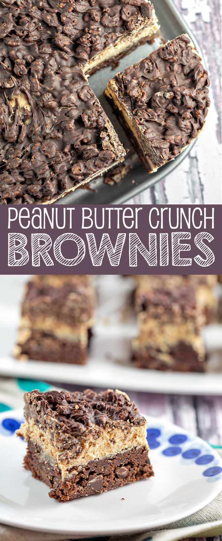 Peanut Butter Crunch Brownies: homemade brownies, peanut butter ganache frosting, and a Rice Krispie chocolate crunch layer - the perfect make-ahead party treat! {Bunsen Burner Bakery}