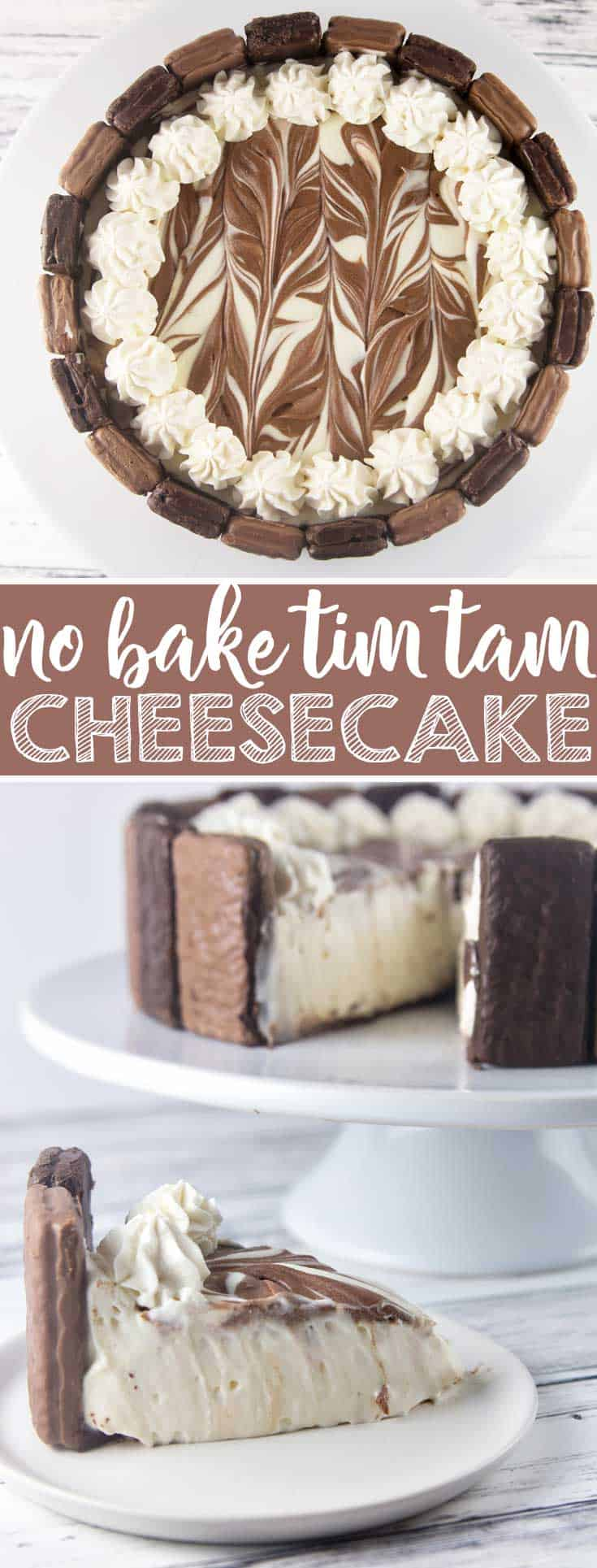 Tim Tam No Bake Cheesecake: the perfect quick and easy holiday entertaining dessert. Crunchy Tim Tams paired with a light, smooth no bake cheesecake filling, and a pure chocolate crust. Heavenly! {Bunsen Burner Bakery} #cheesecake #timtams #nobakecheesecake #nobake