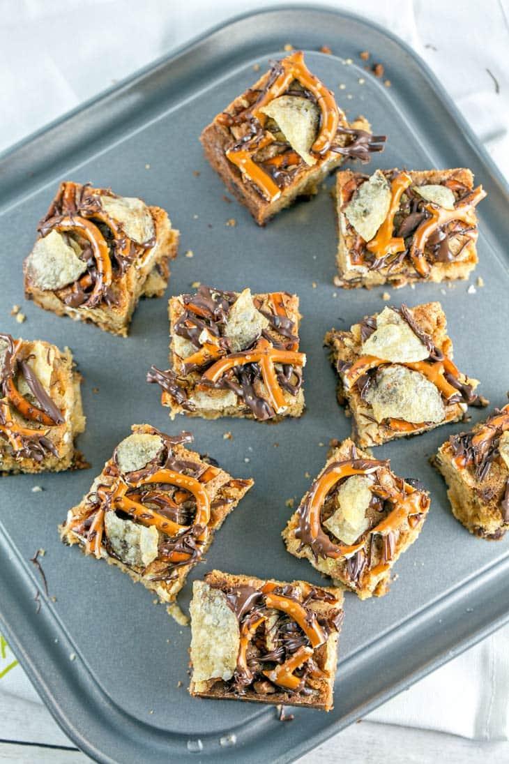 Potato Chip Pretzel Cookie Bars | Dessert | Party Food | Chocolate Chip Cookies | Bunsen Burner Bakery