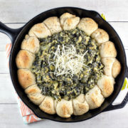 Spinach and Artichoke Biscuit Skillet | Dip | Biscuits | Party Food | Vegetarian | Bunsen Burner Bakery