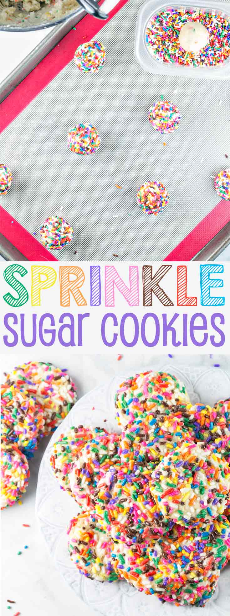 Sprinkle Sugar Cookies: the most festive of all cookies, a soft sugar cookie rolled in bright colored sprinkles. {Bunsen Burner Bakery} #sprinkles #cookies #sugarcookies