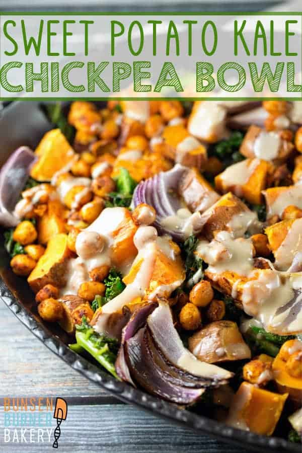 Sweet Potato Kale Chickpea Bowl: roasted sweet potatoes, spicy chickpeas, and fresh kale with a maple tahini dressing. #bunsenburnerbakery #glutenfree #vegan #vegetarian #tahini #buddhabowl