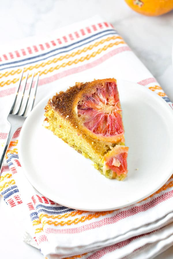 Blood Orange Olive Oil Cake: a moist and delicious, one bowl, mix by hand, dairy free cake becomes dinner party worthy thanks to beautiful blood oranges. {Bunsen Burner Bakery}