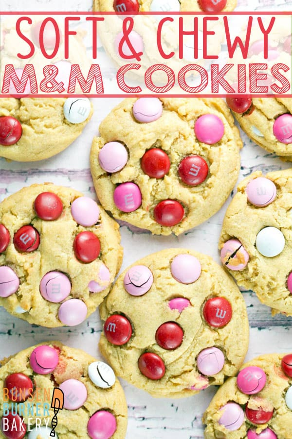 M&M Pudding Cookies: with a rich vanilla flavor and the crunch of M&Ms, these soft and chewy cookies are hard to beat! #bunsenburnerbakery #cookies #mmcookies#valentinesday #puddingcookies