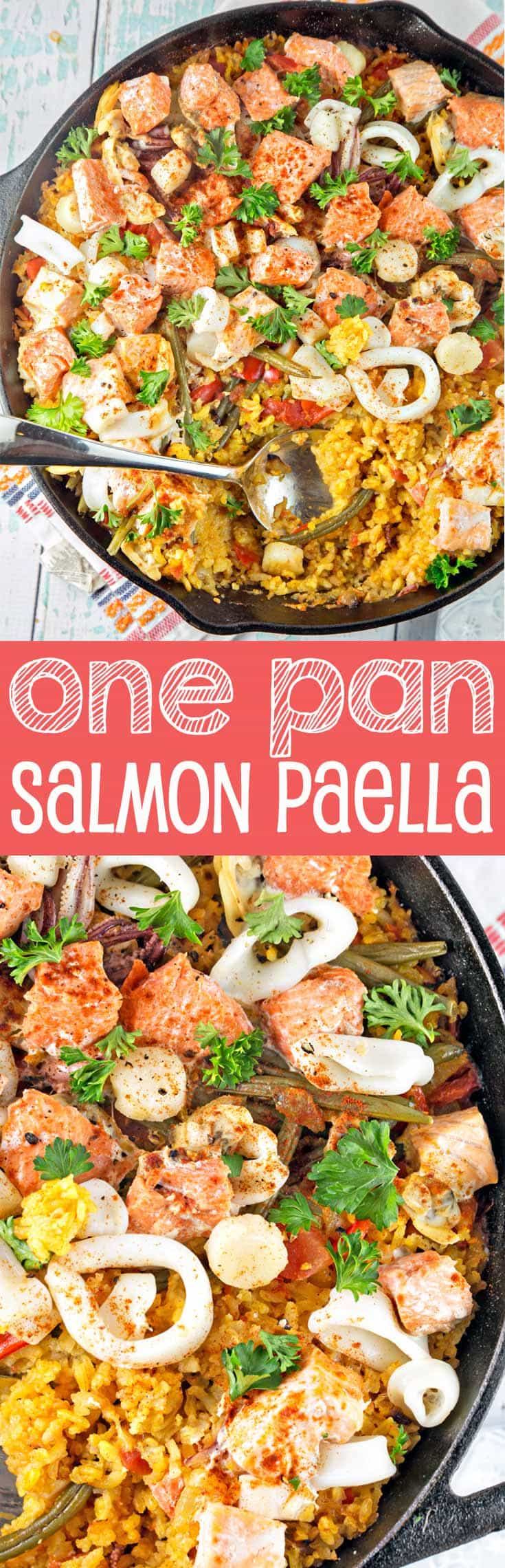 One Pan Salmon Paella: Tired of boring salmon? Try something new and different with one pan salmon paella. Made with easy-to-find ingredients, this is a delicious, heart-healthy dinner choice. {Bunsen Burner Bakery}