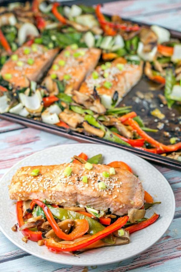 Sheet Pan Asian Salmon: Prep in the morning and bake in the evening. One pan and 12 minutes is all you need for a delicious, healthy, vegetable heavy dinner. {Bunsen Burner Bakery}