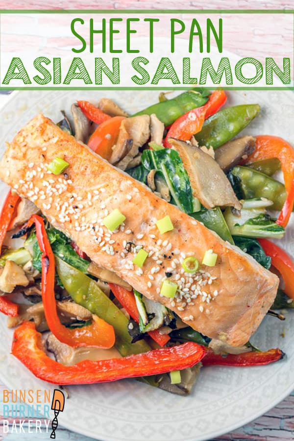 Sheet Pan Asian Salmon: Prep in the morning and bake in the evening. One pan and 12 minutes is all you need for a delicious, healthy, vegetable heavy dinner. #bunsenburnerbakery #sheetpan #glutenfree #salmon #quickdinners #mealprep