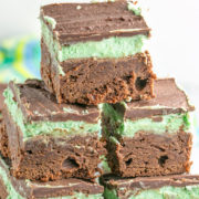 Mint Irish Cream Brownies: rich, fudgy chocolate brownies with a layer of mint Baileys Irish cream frosting and a chocolate coating. Perfect for St. Patrick's Day - or year round! {Bunsen Burner Bakery}