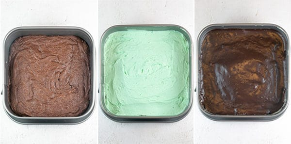 three photos showing the plain brownies, brownies covered with mint cream, and the brownies covered with chocolate ganache