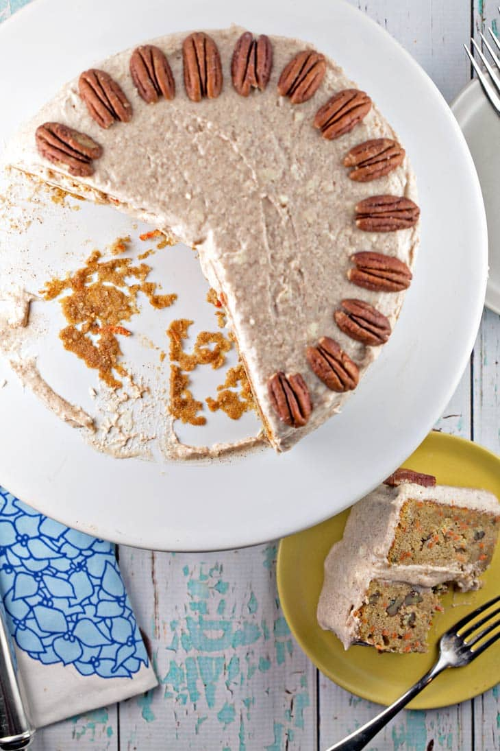 Carrot Cake with Lemon Cinnamon Cream Cheese Frosting: a delicious and easy moist layered cake with sweet and tangy, cinnamony frosting. {Bunsen Burner Bakery}
