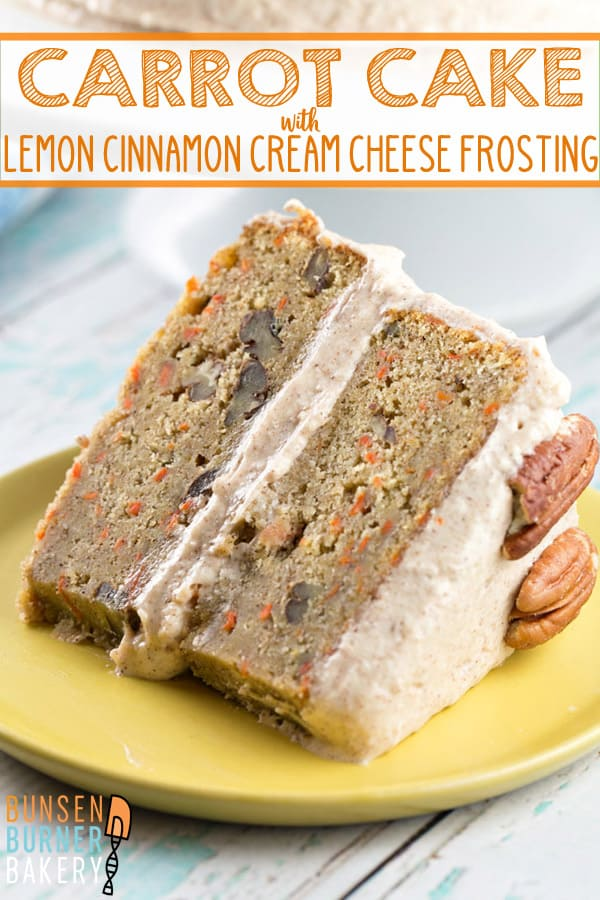 Carrot Cake with Lemon Cinnamon Cream Cheese Frosting: a delicious and easy layered cake with sweet and tangy, cinnamony frosting. Perfect for spring brunches and dinners or summer carrots. #bunsenburnerbakery #cake #carrotcake #layercakes #creamcheesefrosting