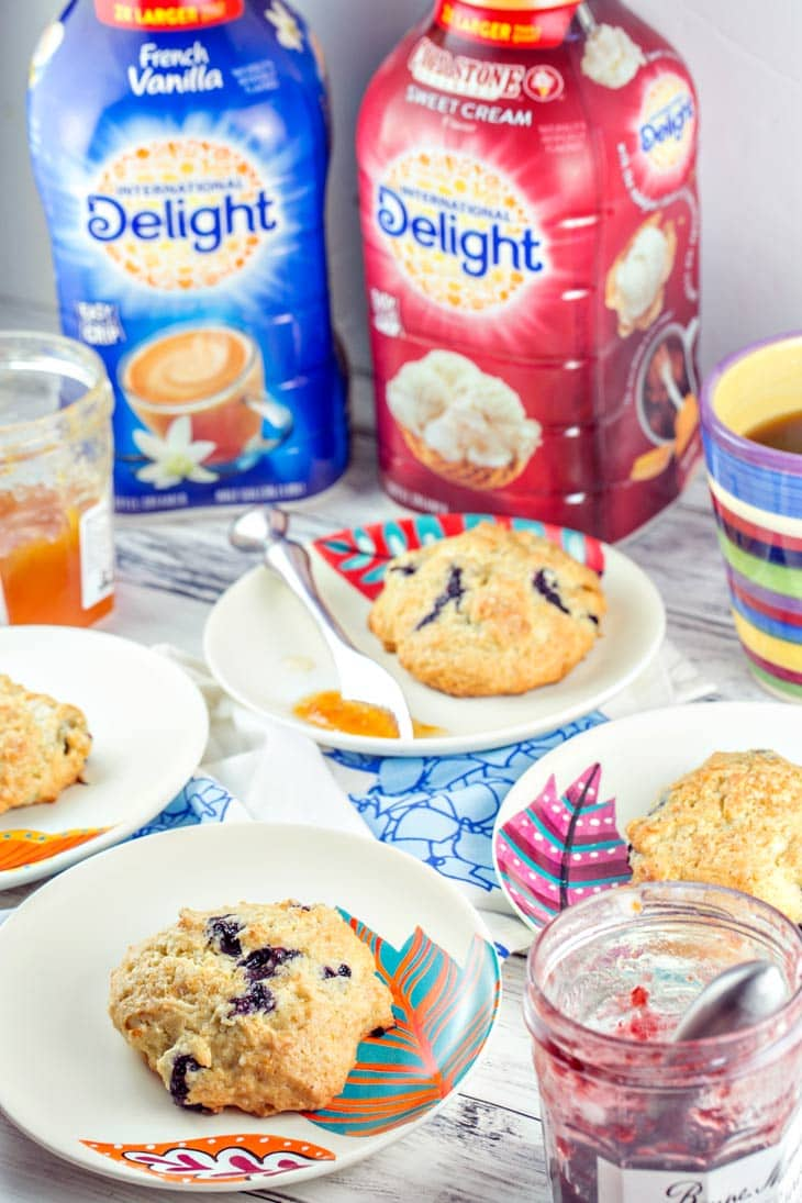 French vanilla lemon blueberry scones made with International Delight coffee are perfect for spring brunch.