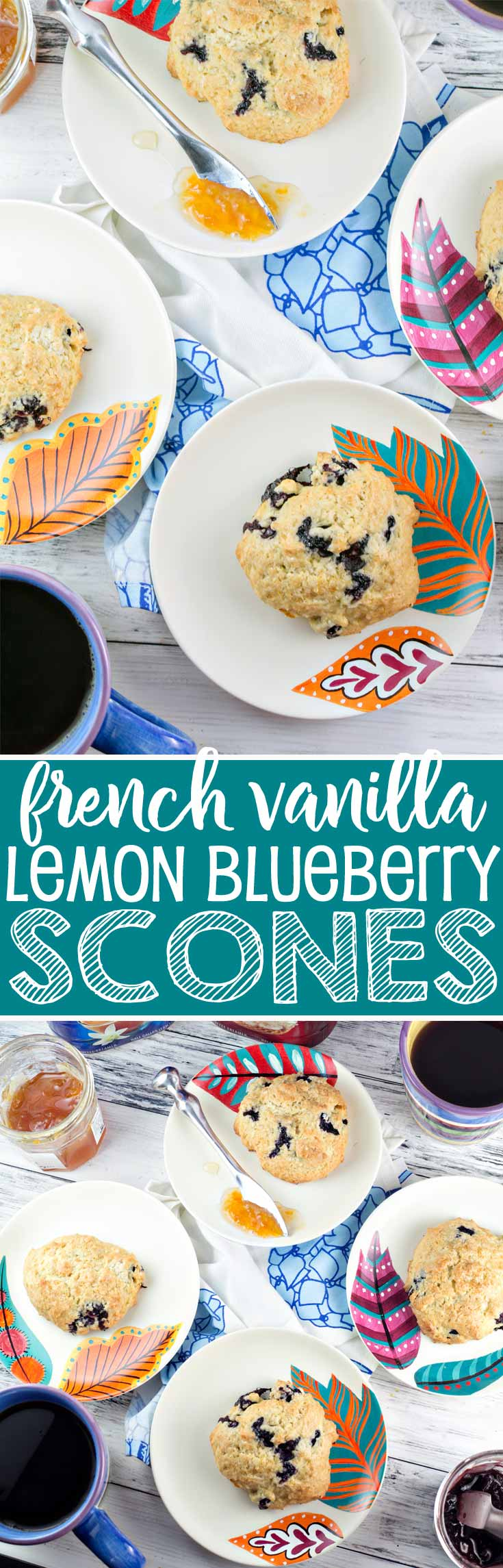 French Vanilla Lemon Blueberry Scones: the perfect addition to your spring and summer brunches. Easter, Mother's Day, bridal showers, tea parties - these easy scones are perfect for sharing! {Bunsen Burner Bakery} #ad