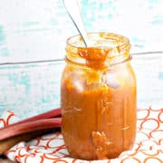 Chipotle Rhubarb BBQ Sauce: Elevate your summer grilling with homemade spicy chipotle rhubarb BBQ sauce, packed full of fresh rhubarb! Spicy, tangy, and just a little sweet, this RhuBarbecue sauce is the perfect use for your CSA and farmers market rhubarb. {Bunsen Burner Bakery}