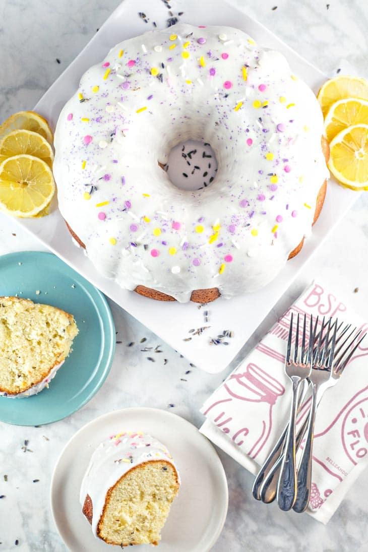 Lemon Lavender Bundt Cake: a light and delicate vanilla bundt cake, full of lemon zest and dried lavender. It's the perfect cake for spring and summer entertaining, like bridal showers, baby showers, or Mother's Day! {Bunsen Burner Bakery}