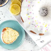 Lemon Lavender Bundt Cake: a light and delicate vanilla bundt cake, full of lemon zest and dried lavender. It's the perfect cake for spring and summer entertaining, like bridal showers, baby showers, or Mother's Day! {Bunsen Burner Bakery}