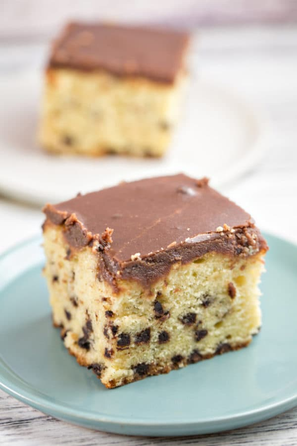 Chocolate Chip Pound Cake: an easy sheet cake, perfect for carving or serving as a party cake with a layer of homemade hot fudge frosting! Make ahead and freeze! {Bunsen Burner Bakery}