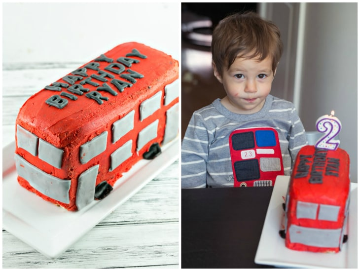 Chocolate chip pound cake carved into a double decker bus birthday cake.