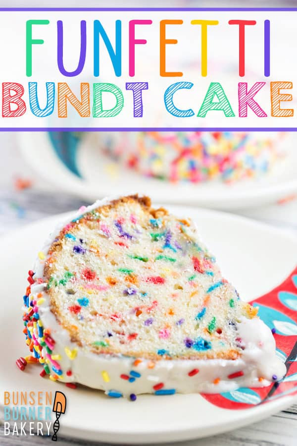 Funfetti Bundt Cake: Get ready to celebrate with this festive sprinkle-filled homemade funfetti bundt cake!  Everyone's favorite childhood flavor, baked from scratch with an easy recipe. Perfect for birthdays, anniversaries, holidays, or any day that needs a little extra cheer! #bunsenburnerbakery #cake #bundtcake #funfetti